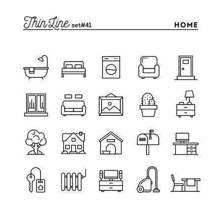 Domu, wnętrza, meble i inne, zestaw ikon cienkiej linii, ilustracji wektorowych