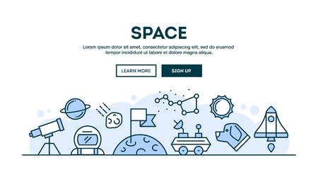 celestial: Space, concept header, flat design thin line style, vector illustration