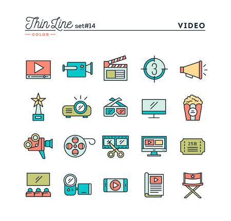 Film, video, schieten, bewerken en nog veel meer, dunne lijn kleur pictogrammen instellen, vector illustratie