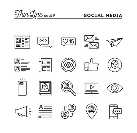 posting: Social media, communication, personal profile, online posting and more, thin line icons set, vector illustration