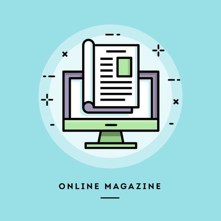 Revista en línea, diseño plano de línea fina de banner, uso de boletines de correo electrónico, banners web, encabezados, publicaciones de blog, impresión y más Ilustración de vector
