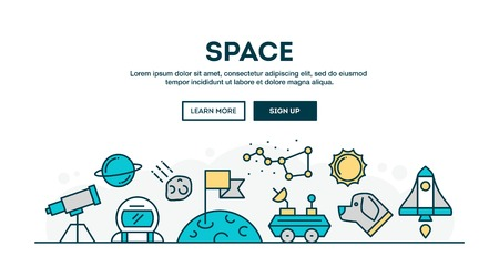 rover: Space, colorful concept header, flat design thin line style, vector illustration Illustration