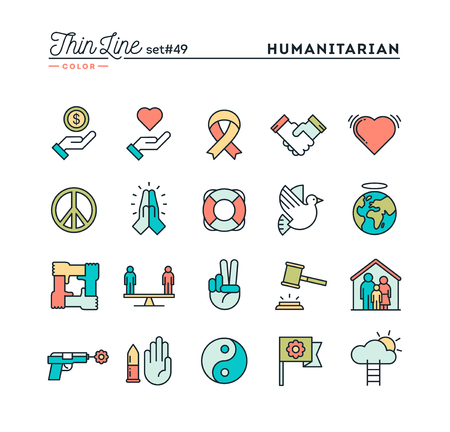 humanitarian: Humanitarian, peace, justice, human rights and more, thin line color icons set, vector illustration