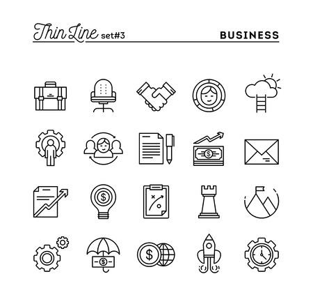 Business, ondernemerschap, teamwork, doelen en nog veel meer, dunne lijn pictogrammen instellen, vector illustratie