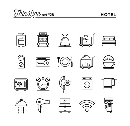 accommodation: Hotel, accommodation , room service, restaurant and more, thin line icons set, vector illustration