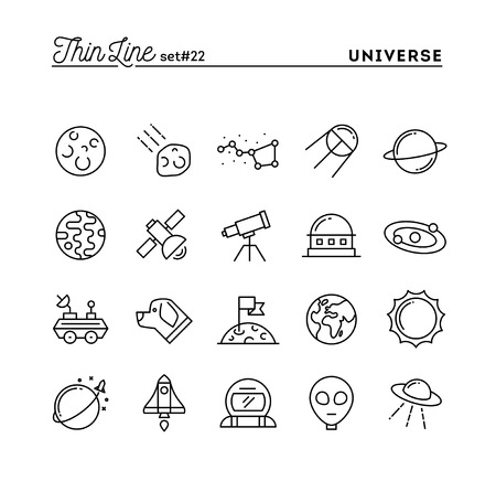 celestial: Universe, celestial bodies, rocket launching, astronomy and more, thin line icons set, vector illustration Illustration