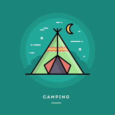 blog design: Camping, flat design thin line banner, usage for e-mail newsletters, web banners, headers, blog posts, print and more Illustration