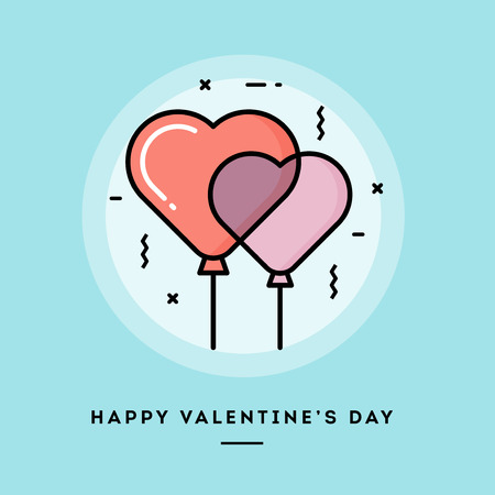 happy web: Happy Valentines day, flat design thin line banner, usage for e-mail newsletters, web banners, headers, blog posts, print and more