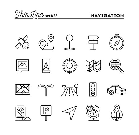 magnyfying glass: Navigation, direction, maps, traffic and more, thin line icons set, vector illustration