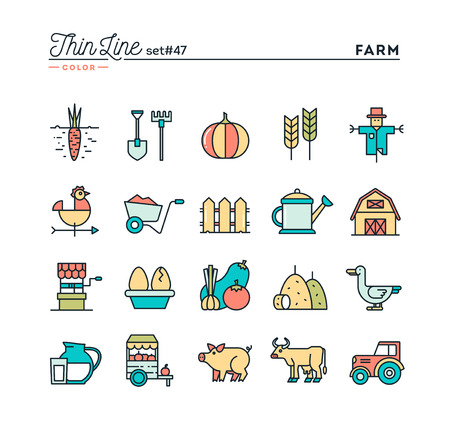 food production: Farm, animals, land, food production and more, thin line color icons set, vector illustration