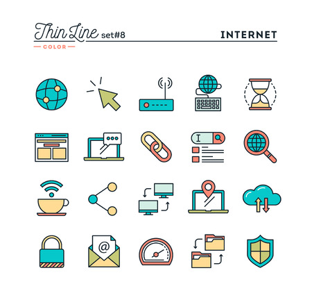 Internet, global network, cloud computing, free WiFi and more, thin line color icons set, vector illustration