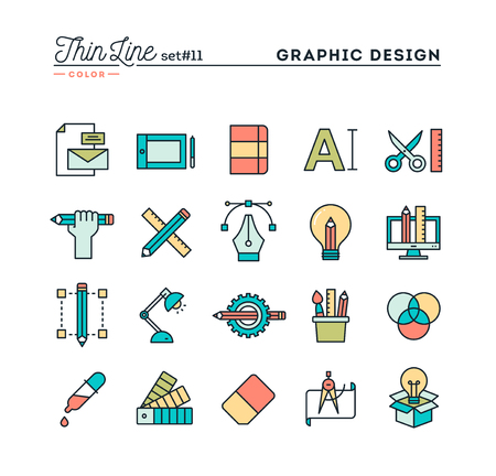Graphic design, creative package, stationary, software and more, thin line color icons set, vector illustration Illustration