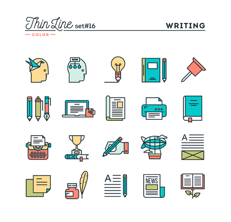 best book: Writing, blogging, best seller book, storytelling and more, thin line color icons set, vector illustration Illustration
