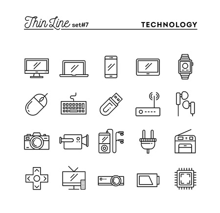 Technology, devices, gadgets and more, thin line icons set, vector illustration Vettoriali