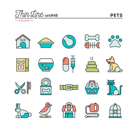 rabbit cage: Pets, thin line color icons set, vector illustration Illustration