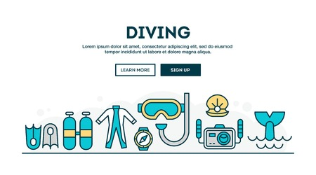 Diving, colorful concept header, flat design thin line style, vector illustration Illustration
