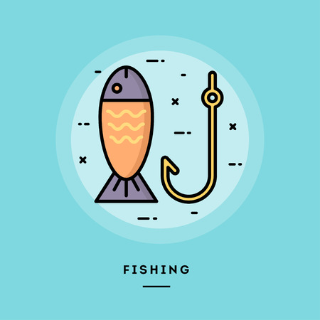 Fishing, flat design thin line banner, usage for e-mail newsletters, web banners, headers, blog posts, print and more