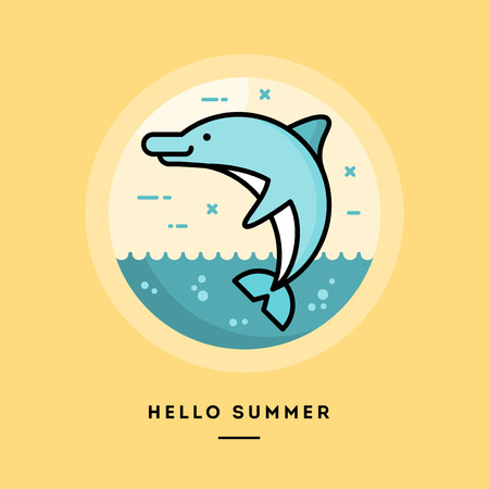 blog design: Hello summer, flat design thin line banner, usage for e-mail newsletters, web banners, headers, blog posts, print and more