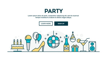 dressing up party: Party, colorful concept header, flat design thin line style, vector illustration