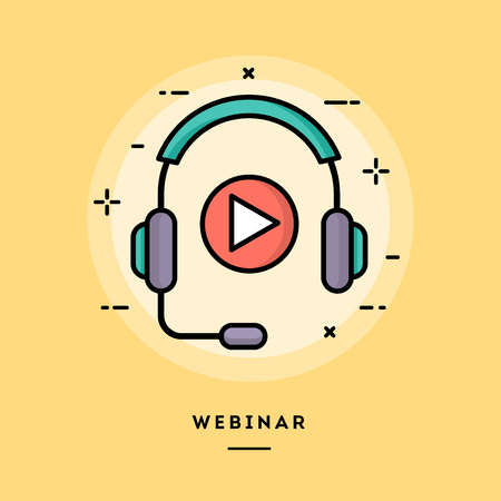 webcast: Webinar, flat design thin line banner, usage for e-mail newsletters, web banners, headers, blog posts, print and more Illustration