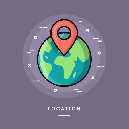 geolocation: Location, flat design thin line banner, usage for e-mail newsletters, web banners, headers, blog posts, print and more