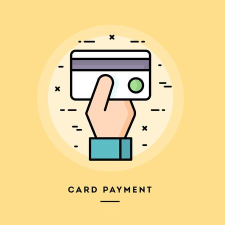 pago con tarjeta, diseño plano delgada línea bandera, el uso de boletines de correo electrónico, banners web, cabeceras, blogs, impresión y más