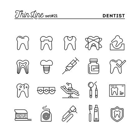 Dentist, dental care, healthy teeth, protection and more, thin line icons set, vector illustration