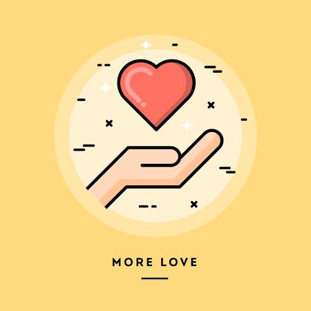Meer liefde, platte ontwerp dunne lijn banner, het gebruik van e-mail nieuwsbrieven, webbanners, headers, blog posts, print en nog veel meer Stock Illustratie