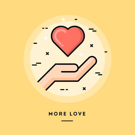 deeds: More love, flat design thin line banner, usage for e-mail newsletters, web banners, headers, blog posts, print and more