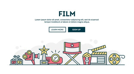 video camera: Film, colorful concept header, flat design thin line style, vector illustration