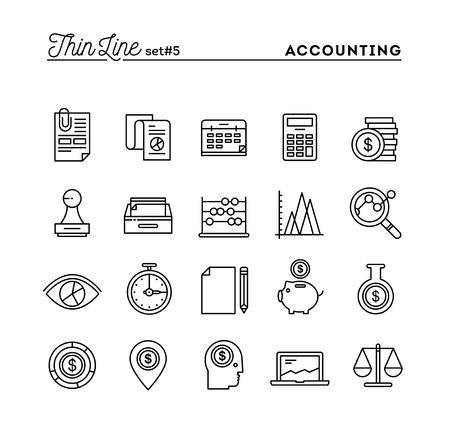 Rechnungswesen, Unternehmensstatistik, Zeit, Geld-Management und vieles mehr, dünne Linie Icons Set, Vektor-Illustration Vektorgrafik