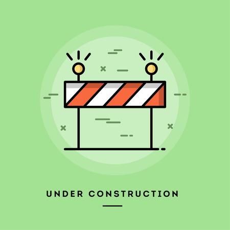 Under construction, flat design thin line banner, usage for e-mail newsletters, web banners, headers, blog posts, print and more  イラスト・ベクター素材