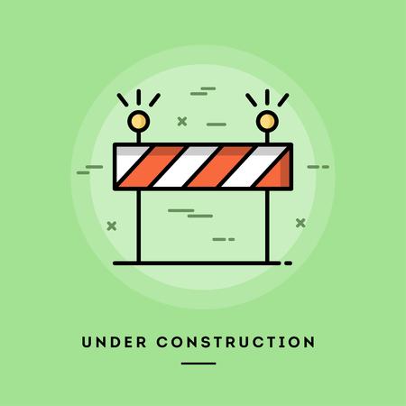 Under construction, platte ontwerp dunne lijn banner, het gebruik van e-mail nieuwsbrieven, webbanners, headers, blog posts, print en meer