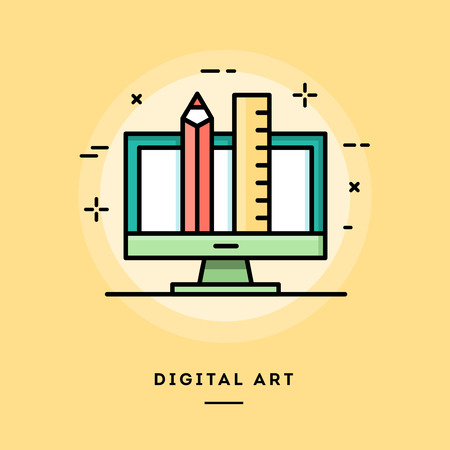Digital art, flat design thin line banner, usage for e-mail newsletters, web banners, headers, blog posts, print and more