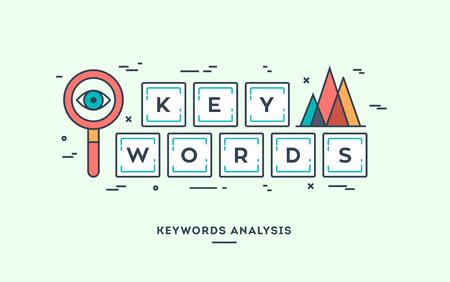 Keywords analysis, digital marketing concept, flat design thin line banner. Ilustrace
