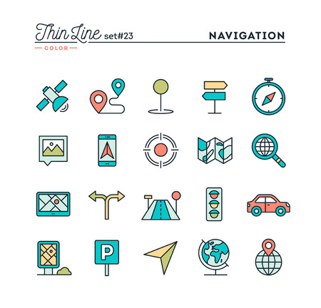 Navigation, direction, maps, traffic and more, thin line color icons set, vector illustration