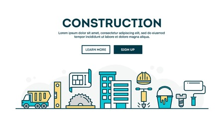 Construction, colorful concept header, flat design thin line style, vector illustration Ilustração