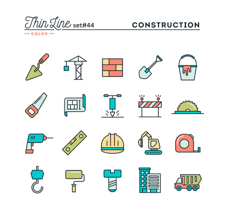 building color: Construction, building, project, tools and more, thin line color icons set, vector illustration