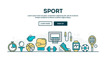 active lifestyle: Sport, recreation, active lifestyle, colorful concept header, flat design thin line style, vector illustration