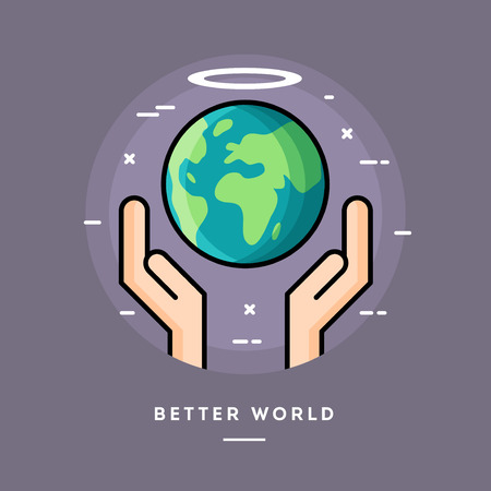 better: Better world, flat design thin line banner, usage for e-mail newsletters, web banners, headers, blog posts, print and more Illustration