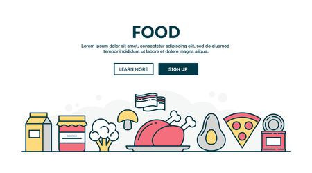Food, colorful concept header, flat design thin line style, vector illustration Stock Illustratie
