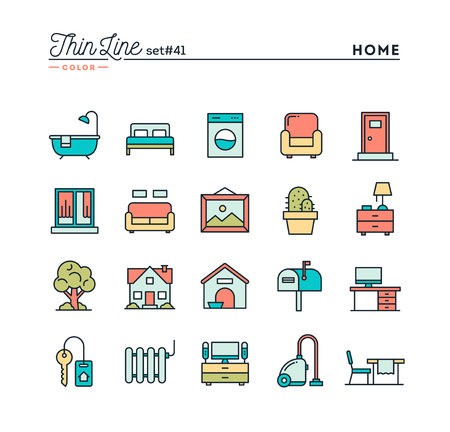 lawn chair: Home, interior, furniture and more, thin line color icons set, vector illustration Illustration