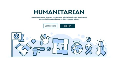 humanitarian: Humanitarian, concept header, flat design thin line style, vector illustration