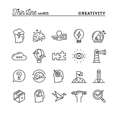 Creativiteit, verbeelding, het oplossen van problemen, geestkracht en nog veel meer, dunne lijn pictogrammen instellen, vector illustratie