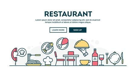 Restaurant, colorful concept header, flat design thin line style, vector illustration Ilustrace