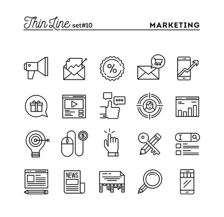 marketing target: Digital marketing, online business, target audience, pay per click and more, thin line icons set, vector illustration