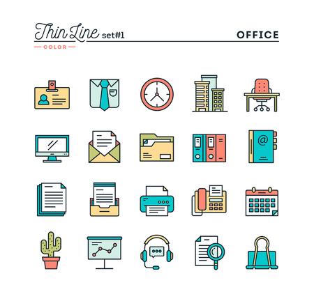 オフィスもの、細い線の色アイコン セット、ベクトル イラスト