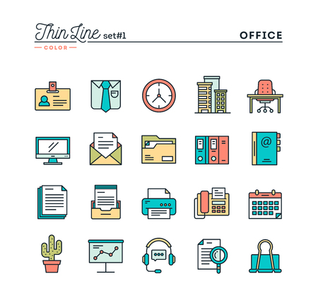 Office things, thin line color icons set, vector illustration
