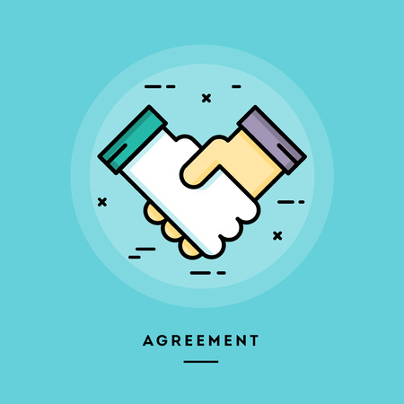 Agreement, flat design thin line banner, usage for e-mail newsletters, web banners, headers, blog posts, print and more