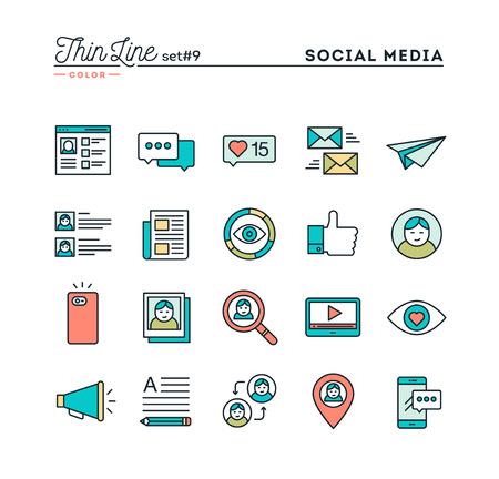 Las redes sociales, la comunicación, perfil personal, la publicación en línea y más, los iconos de color de línea de capa delgada, ilustración vectorial